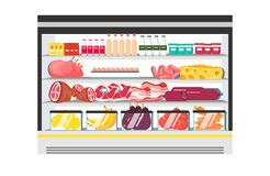 Showcase fridge for cooling dairy. Products. Full of vegetables, fruits, meat and dairy products. Refrigerator. Flat style vector illustration isolated on white Stock Photography