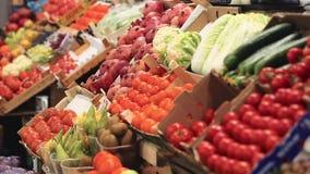 Showcase fruits and vegetables. Farm fruit market. Showcase fruits and vegetables stock video footage