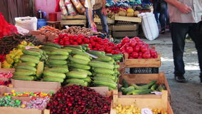 Showcase Fruits And Vegetables. Farm fruit market. Showcase fruits and vegetables. Georgia, Tbilisi. Full HD 1920 x 1080, 2997 fps stock footage