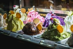 Showcase of an Italian ice cream shop in Milan stock photo