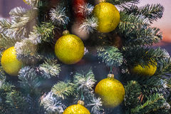 Showcase in the mall. Christmas festive bright background with balls decorations. Showcase in the mall. Christmas festive bright background with huge Christmas Royalty Free Stock Image