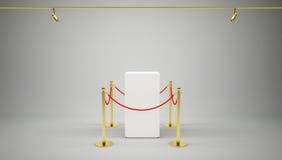 Showcase met betegelde tribunebarrières voor tentoongesteld voorwerp Royalty-vrije Stock Foto's