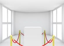 Showcase met betegelde tribunebarrières voor tentoongesteld voorwerp Royalty-vrije Stock Afbeeldingen