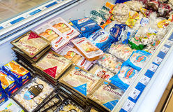 Showcase met bevroren producten Royalty-vrije Stock Foto's
