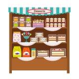 Showcase met desserts stock illustratie