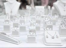 Showcase met juwelen stock foto's