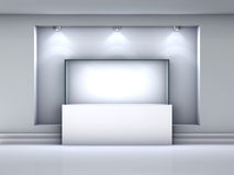 showcase and niche with spotlights in gallery Stock Image