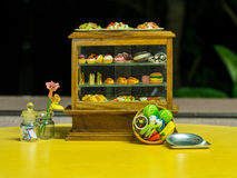 Showcase Pastry Tiny Toys Stock Image