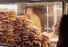Showcase with pretzel in street market stock photo
