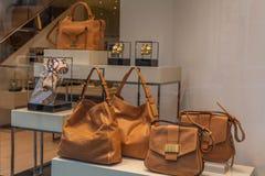Showcase of purse shop in Milan Stock Image