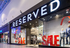 Showcase of RESERVED Store in family shopping centre MEGA Stock Image