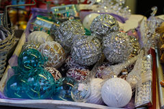 Showcase on sale of Christmas New Year`s toys at the Christmas festival in Moscow Stock Photos
