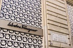 Showcase of the Salvatore Ferragamo store in Via Condotti stock image