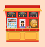 Showcase Shop of Fast Food with Seller Royalty Free Stock Image