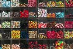 Showcase of a store with sweets Stock Images