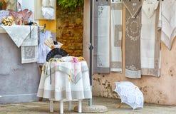 Showcase souvenir shop on Burano Stock Images