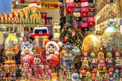 Showcase of a souvenir shop with traditional Russian souvenirs