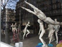 Showcase a sports shop. Mannequins. Stock Photo