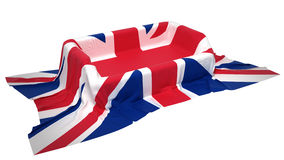 Showcase stand covered with Great Britain flag Stock Photos