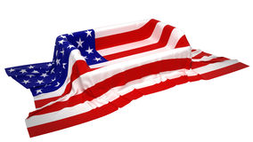 Showcase stand covered with USA flag Royalty Free Stock Image