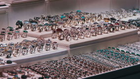 Showcase Store Jeweler Ornaments. Silver rings with precious stones, necklaces on mannequins and various ornaments. Shops with Asian Goods on Soho Square stock video footage
