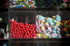 Showcase of a store with sweets Stock Photos