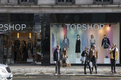 Showcase store Top Shop on the Strand. People stand near the win Royalty Free Stock Image