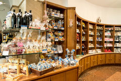 Showcase of sweets in the Alois Dallmayr. Royalty Free Stock Image