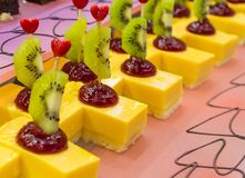 Sweets with fruits in the restaurant. stock photos