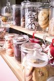 Various cakes and biscuits in a cafe on the counter. Showcase with sweets. Various cakes and biscuits in a cafe on the counter Stock Image