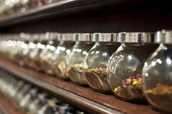 Showcase of tea. In the specialized shops selling rare teas Royalty Free Stock Photography