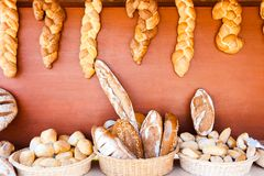 Showcase with variety of breads Stock Photo