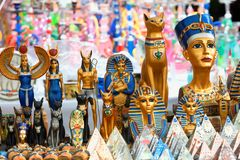 Showcase of various objects of Egyptian themed gift. A showcase of various objects of Egyptian themed gift royalty free stock image