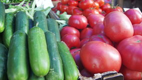Showcase vegetables. Counter with vegetables on the food market. Spontaneous market in the street in the city. Farm market stock video footage