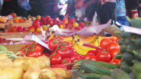 Showcase vegetables. Counter with vegetables on the food market. Spontaneous market in the street in the city. Farm market stock video