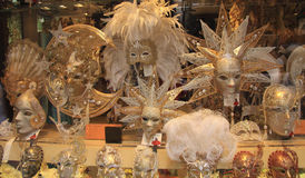 Showcase of Venetian carnival masks Stock Image