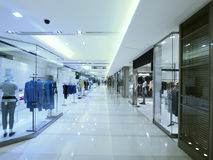 Showcase and walkway. In department store Stock Photo