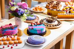 Showcase With Modern Dessert - Cakes And Sweets Royalty Free Stock Photos