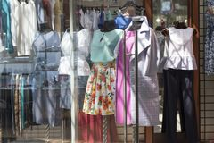Showcase of women`s clothing store Stock Photography
