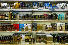 Showcases the alcohol in the duty free shop on the ferry Tallinn Stock Images