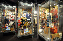 Showcases exhibits. Photo was taken in Hockey Hall of Fame Museum in Toronto City, Ontario Province, Canada. November 2013 stock photos