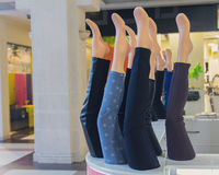 Showcases with leggings in the mall Royalty Free Stock Image