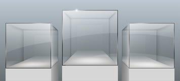 Showcases van glas vector illustratie