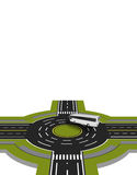 Showed a bus at the crossroads with a circular motion with the marking. A perspective view. illustration Royalty Free Stock Photos