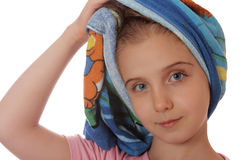 After The Shower. Girl with a towel around her head stock image