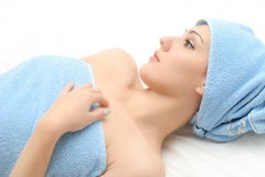 AFTER SHOWER. WOMAN AFTER SHOWER (salon relax stock images