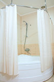 Shower. Bathroom with shower and curtains royalty free stock photo
