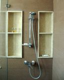 Shower. A shower with granite background and glass covers Stock Image