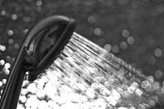 Shower. It shows a shower stream in black and white Royalty Free Stock Photos
