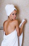 At the shower. Beautiful girl after shower, spa concept royalty free stock photos